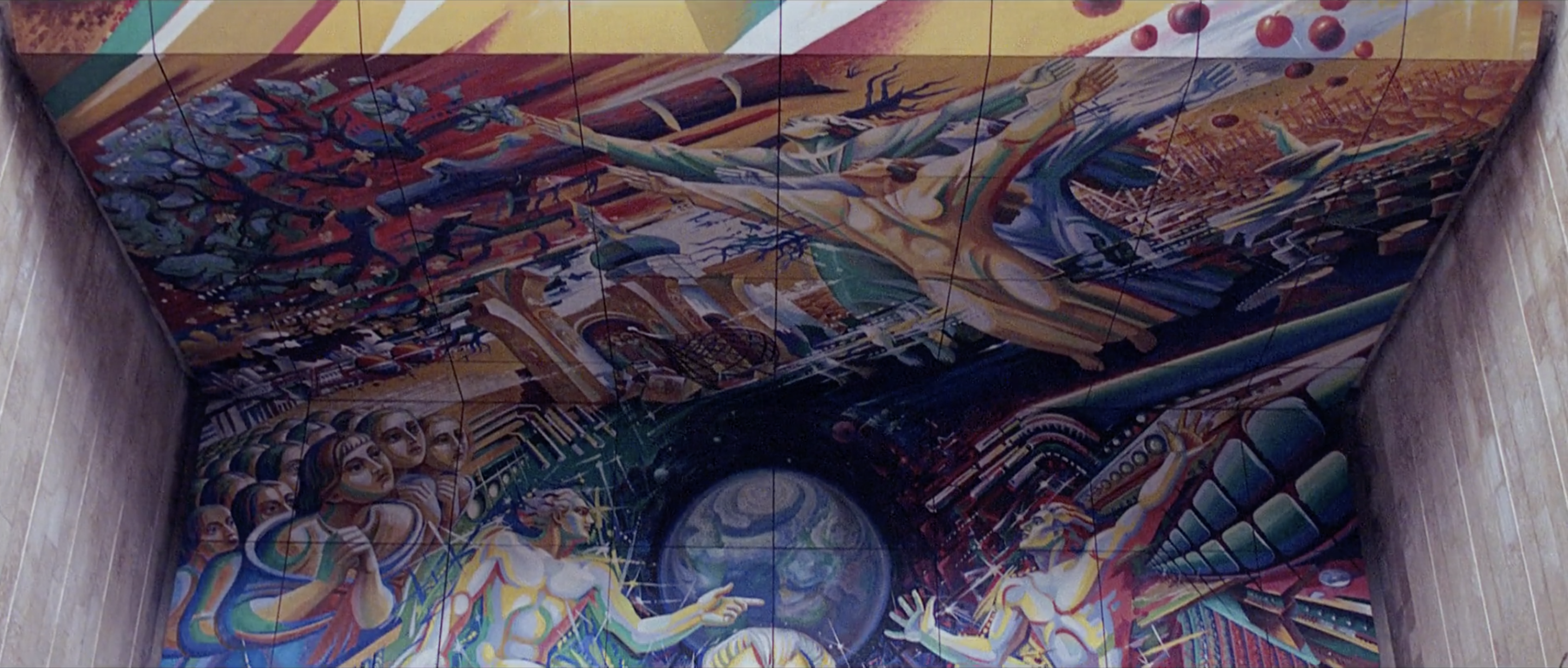 "A screenshot from Paolo Nutini's video ""Iron Sky"" showing ""Earth's Pain"" fresco at Vernadsky National Library"